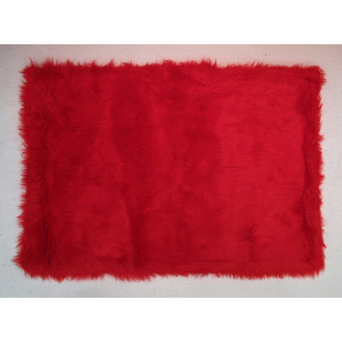 Fun Rugs Flokati Collection Red Area Rug