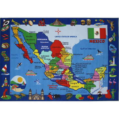 Fun Rugs Fun Time Collection Map of Mexico Area Rug