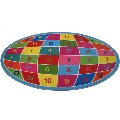 Fun Rugs Fun Time Collection Alpha Numeric Globe Area Rug