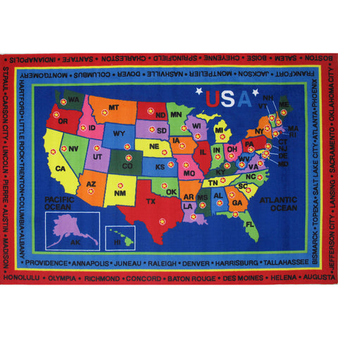 Fun Rugs Fun Time Collection State Capitals Area Rug