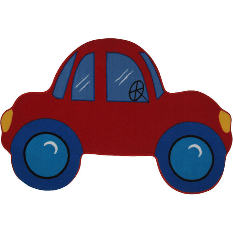 Fun Rugs Fun Time Shape Collection Red Car Area Rug