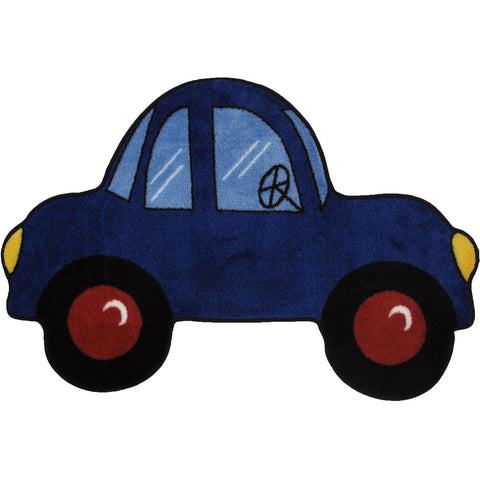 Fun Rugs Fun Time Shape Collection Blue Car Area Rug