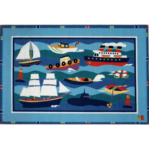 Fun Rugs Olive Kids Collection Boats & Bouys Area Rug