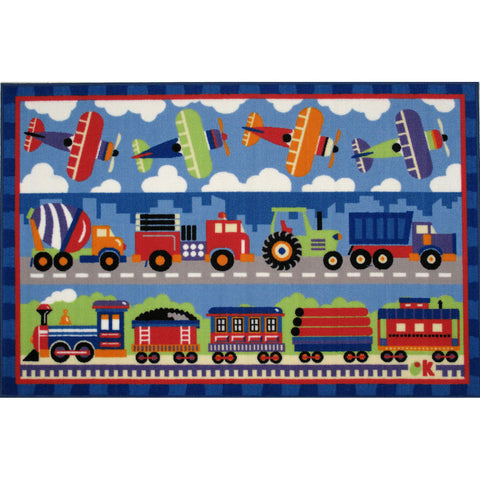 Fun Rugs Olive Kids Collection Trains, Planes & Trucks Area Rug