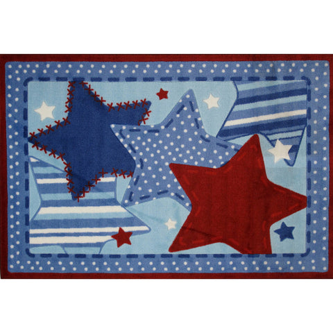 Fun Rugs Fun Time Shape Collection Blue Poppy Area Rug