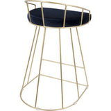 Canary Contemporary Counter Stools with Blue Velvet, Gold (Set of 2)