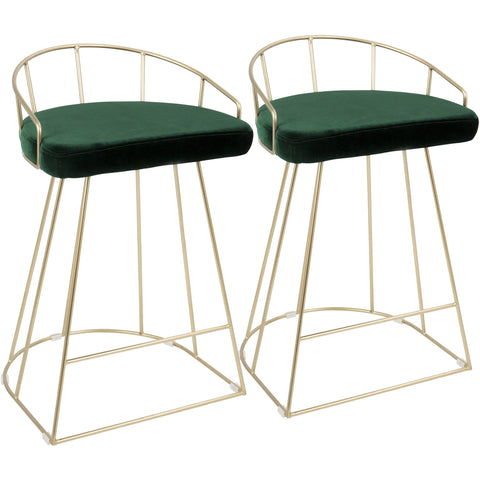Canary Contemporary Counter Stools with Green Velvet, Gold (Set of 2)