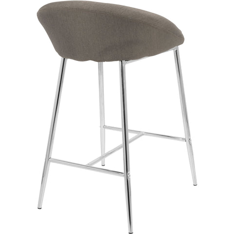 "Matisse Glam 26"" Counter Stools with Grey Fabric, Chrome (Set of 2)"
