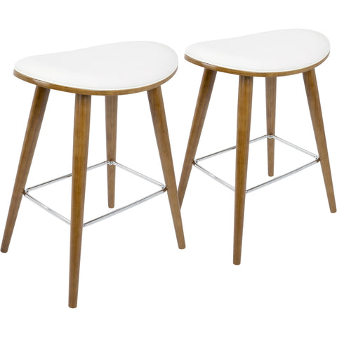 Cabo Mid-Century Counter Stools with Light Grey Fabric, Espresso (Set of 2)