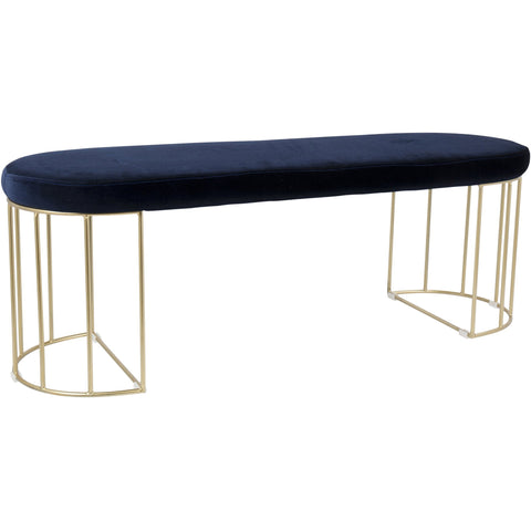 Canary Contemporary Dining / Entryway Bench with Blue Velvet, Gold