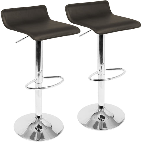 Ale Contemporary Adjustable Barstools with Chrome Footrest, Brown (Set of 2)