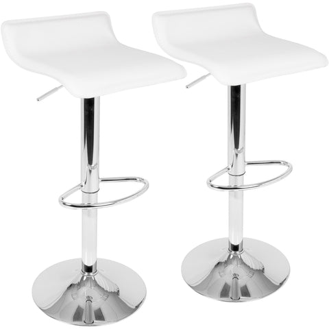 Ale Contemporary Adjustable Barstools with Chrome Footrest, White (Set of 2)