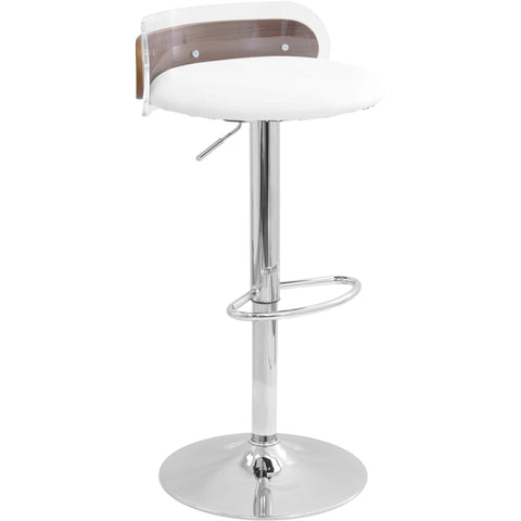 Arc Contemporary Adjustable Barstool,Acrylic & Walnut Wood