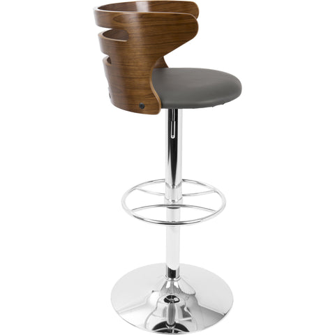 Cosi Mid-Century Modern Adjustable Barstool with Swivel, Walnut & Grey