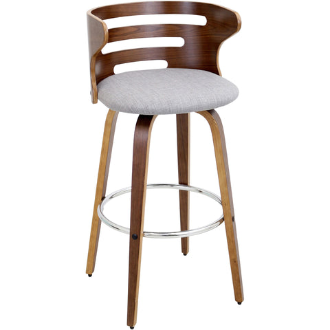Cosini Swivel Barstool, Walnut/Grey