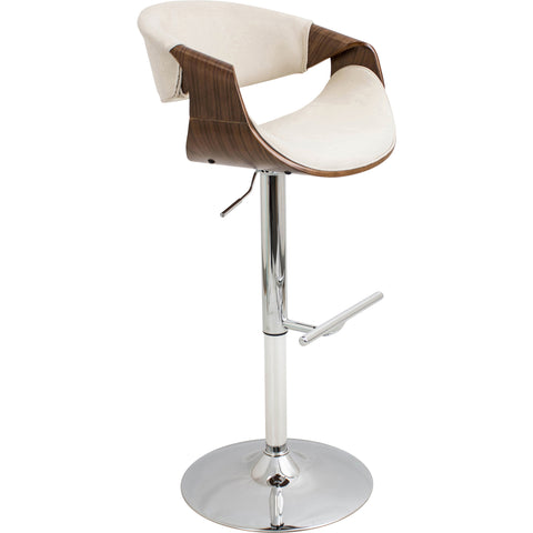 Curvo Height Adjustable Swivel Barstool, Walnut/Cream