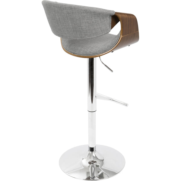 Remarkable Curvo Mid Century Modern Adjustable Barstool With Swivel Walnut Light Grey Forskolin Free Trial Chair Design Images Forskolin Free Trialorg