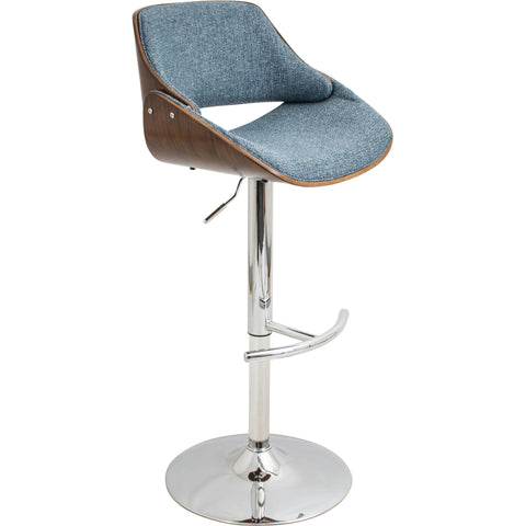 Pino Mid-Century Modern Adjustable Barstool with Swivel, Walnut & Brown