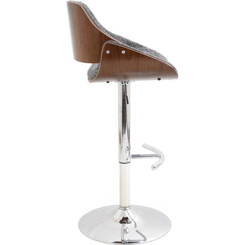 Fabrizzi Height Adjustable Swivel Barstool, Walnut/Grey