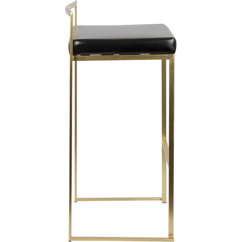 Fuji Contemporary Barstools, Gold & Black PU (Set of 2)