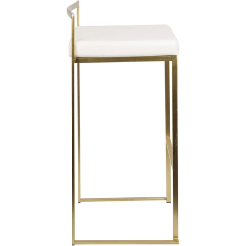Fuji Contemporary Barstools, Gold & White PU (Set of 2)