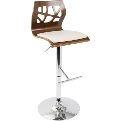 Folia Mid-Century Modern Height-Adjustable Barstool with Swivel, Walnut & Cream
