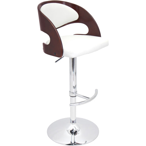 Spago Contemporary Adjustable Barstool, White