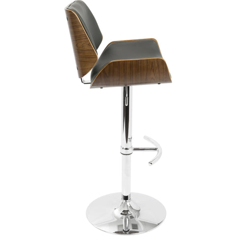 Santi Mid-Century Modern Adjustable Barstool, Walnut & Grey