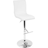 Spago Contemporary Adjustable Barstool, White - eTriggerz.com