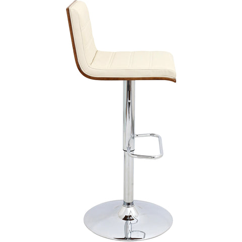 Vasari Height Adjustable Swivel Barstool, Walnut/Cream