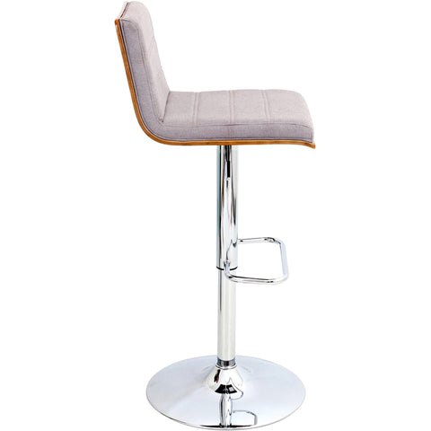 Vasari Height Adjustable Barstool with Swivel, Walnut Wood & Grey Fabric Seat