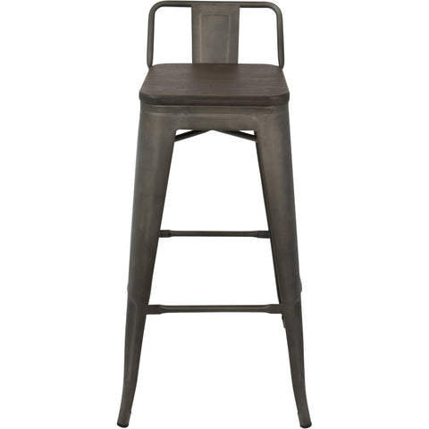 Oregon Industrial Low Back Barstools with Espresso Wood, Antique (Set of 2)