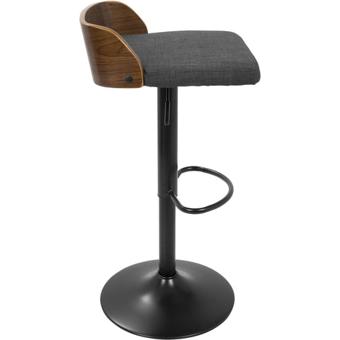 Maya Mid-Century Modern Adjustable Barstool, Walnut Wood & Charcoal Fabric