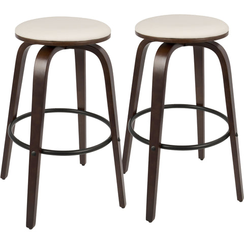 "Porto Mid-Century 30"" Barstool with Swivel, Cherry Wood & White PU (Set of 2)"