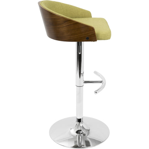 Shiraz Mid-Century Modern Adjustable Barstool, Walnut & Green