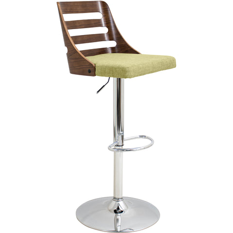 Trevi Height Adjustable Barstool with Swivel, Walnut/Green