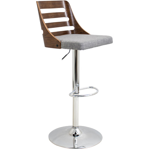 Trevi Height Adjustable Barstool with Swivel, Walnut/Grey