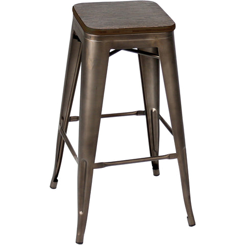 Oregon Pub Stool (Set of 2), Dark Espresso Top/Antique Finish