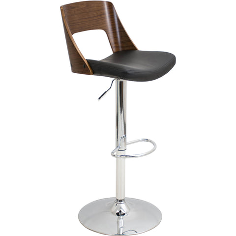 Valencia Height Adjustable Swivel Barstool, Walnut/Black