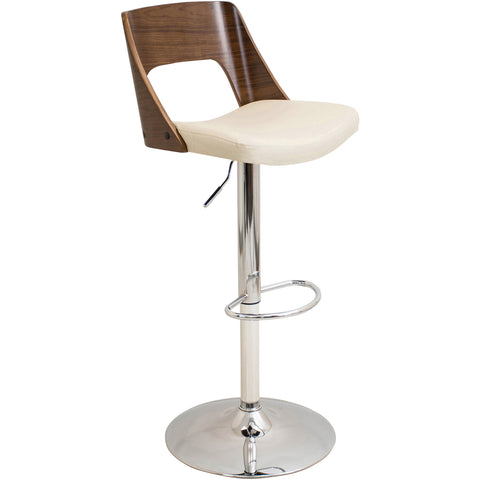 Curvo Mid-Century Modern Adjustable Barstool with Swivel, Walnut & Light Grey