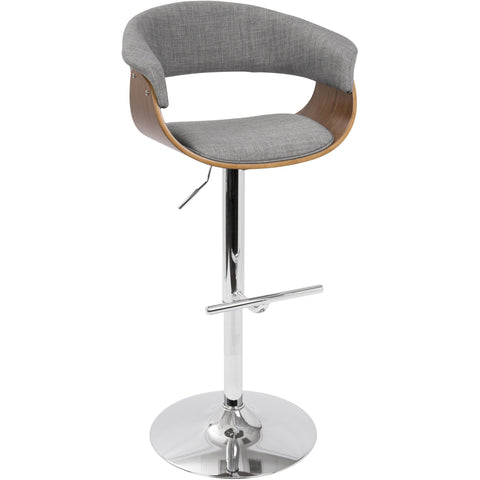 Vintage Mod Mid-Century Adjustable Barstool with Swivel, Walnut & Light Grey
