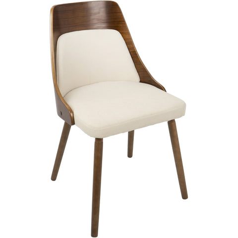 Anabelle Mid-Century Modern Dining Chair, Walnut & Cream Fabric