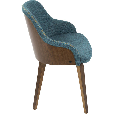 Bacci Mid-Century Modern Dining/ Accent Chair with Teal Fabric, Walnut