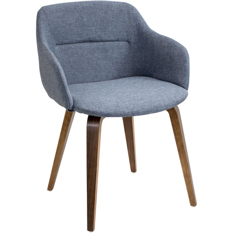 Campania Chair, Walnut/Blue
