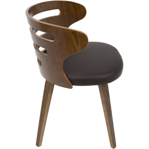 Cosi Mid-Century Modern Chair with Brown PU Leather, Walnut