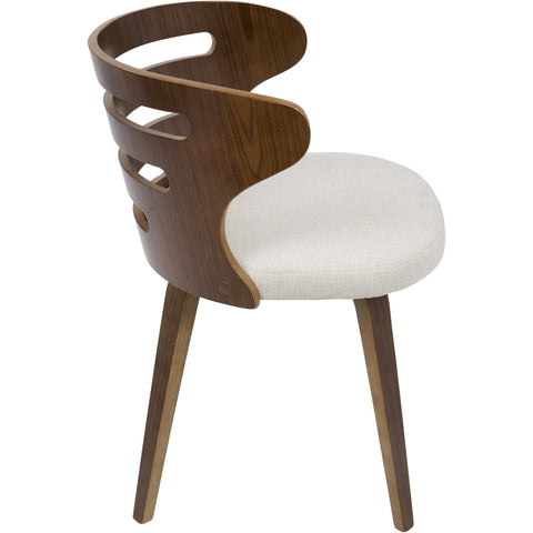 Cosi Mid-Century Modern Chair with Cream Fabric, Walnut