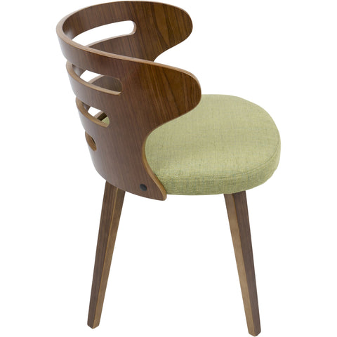 Cosi Mid-Century Modern Chair with Green Fabric,Walnut