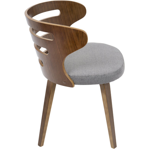 Cosi Mid-Century Modern Chair with Grey Fabric, Walnut