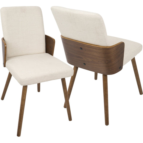Carmella Mid-Century Modern Dining Chairs, Walnut & Cream Fabric (Set of 2)