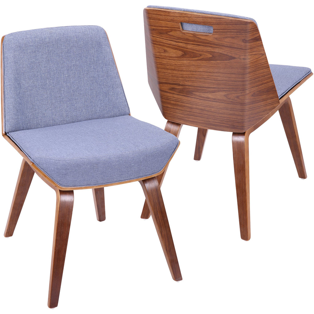 Corazza Mid Century Modern Accent / Dining Chair With Blue Fabric, Walnut